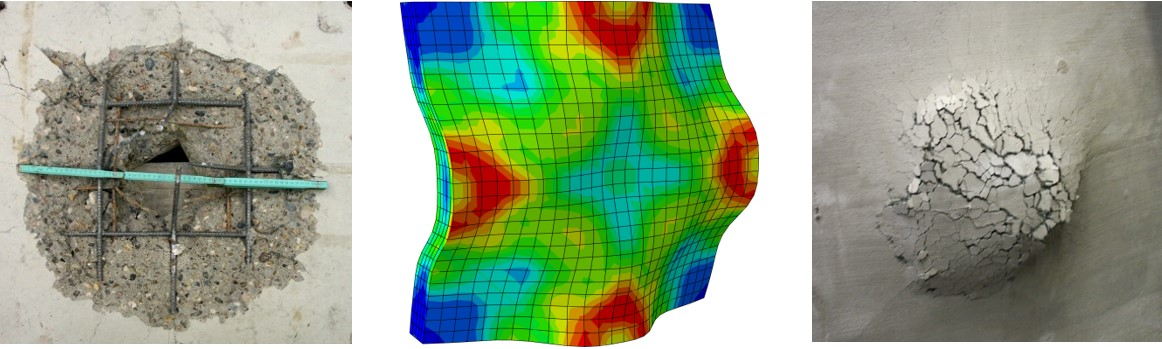 Impacted reinforced concrete plates: non-strengthened showing scabbing on the rear side; Finite Element Model showing stress distribution in an impact concrete plate; strenghened reinforced concrete plate showing the high deformation with no loss of integrity